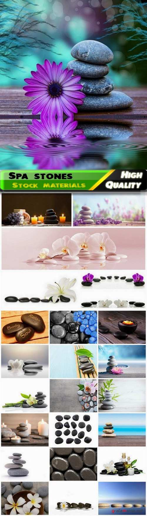 Black smooth spa stones with flower for relax massage 25 HQ Jpg
