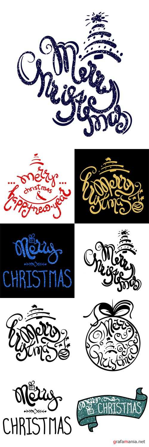 Vector Inscription - Merry Christmas. Hand drawn lettering
