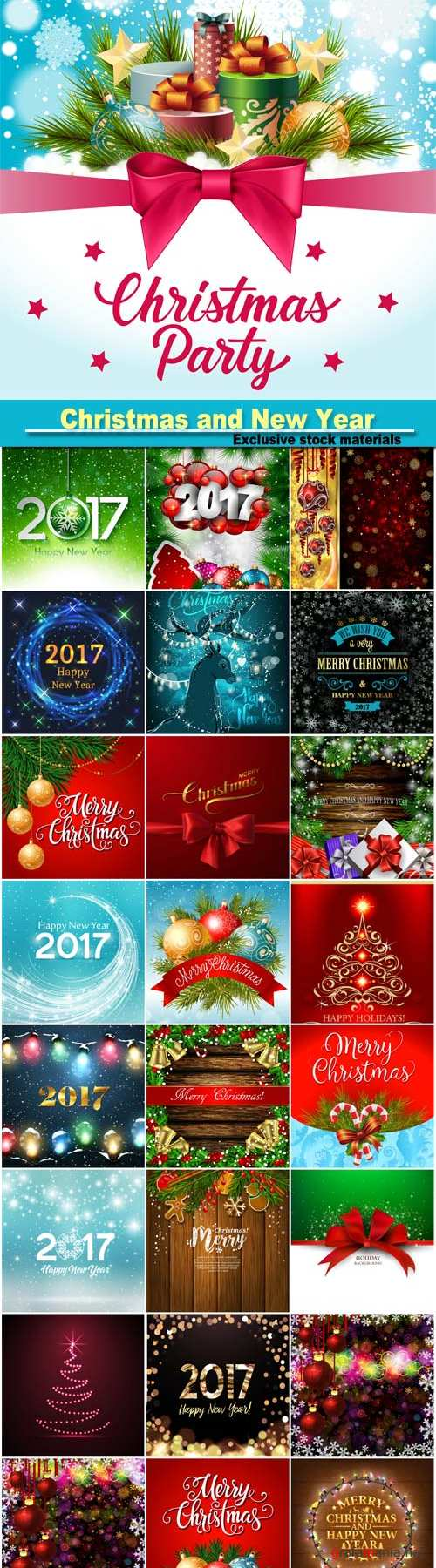 Christmas and New Year design background, christmas garland, gift boxes and snow