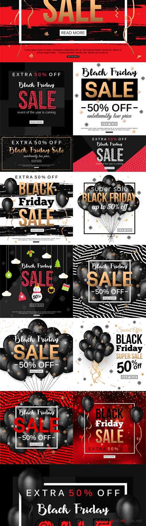 Vector Black Friday Sale Banners