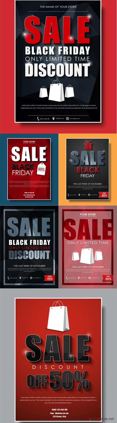 Vector Template Poster Flyers Banners for Sales on Black Friday