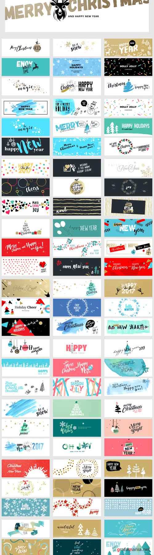 Vector Christmas and New Year Social Media Banners