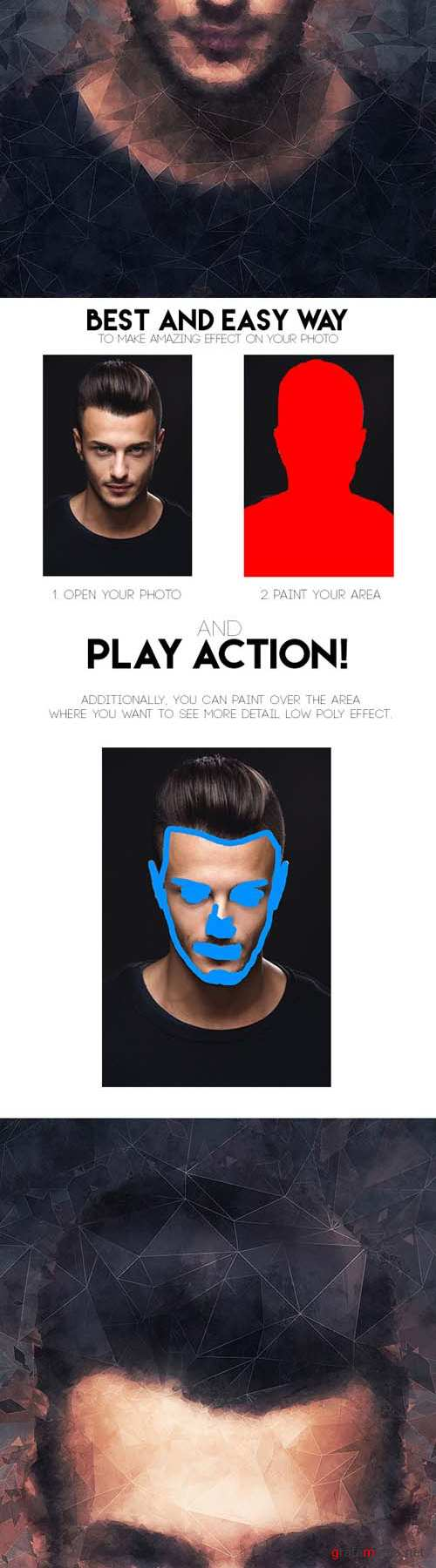 Low Poly Art Photoshop Action 15874035