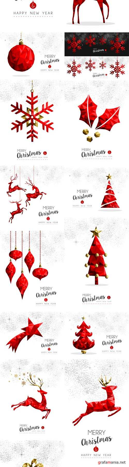 Vector Red Christmas Tree, Deer and Gift Decoration for Greeting Card