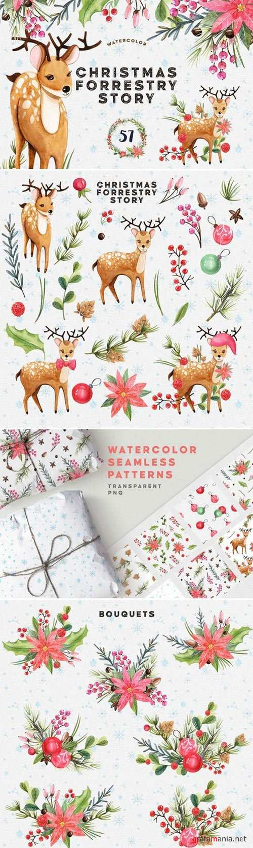 Watercolor Christmas Forrestry Story 1058854