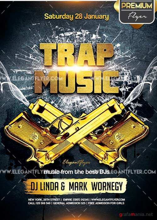 Trap Music Flyer PSD V1 Template + Facebook Cover