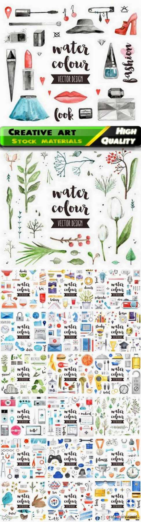 Creative art of watercolor illustration of elements and objects 20 Eps