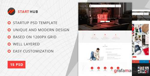 StartHub — Clean Multipurpose Portfolio/Blog PSD Template 18056126