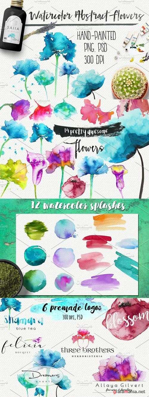 Watercolor abstract flowers - 958363
