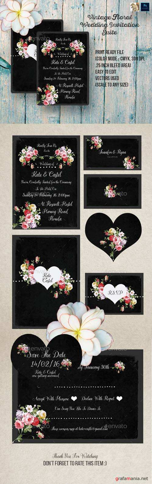 Vintage Floral Wedding Invitation Suite 14447556
