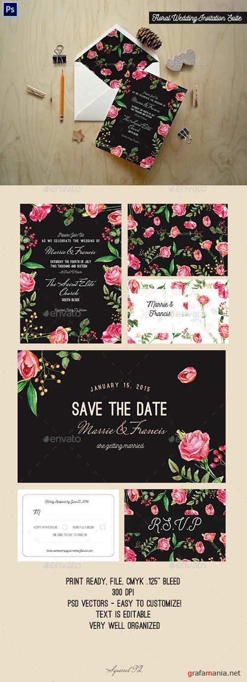 Floral Wedding Invitation Suite 13253040