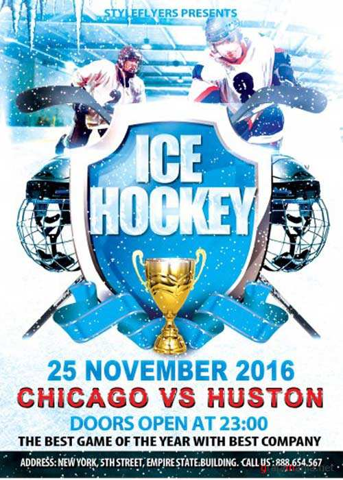 Ice Hockey Sport Flyer PSD V7 Template with Facebook cover