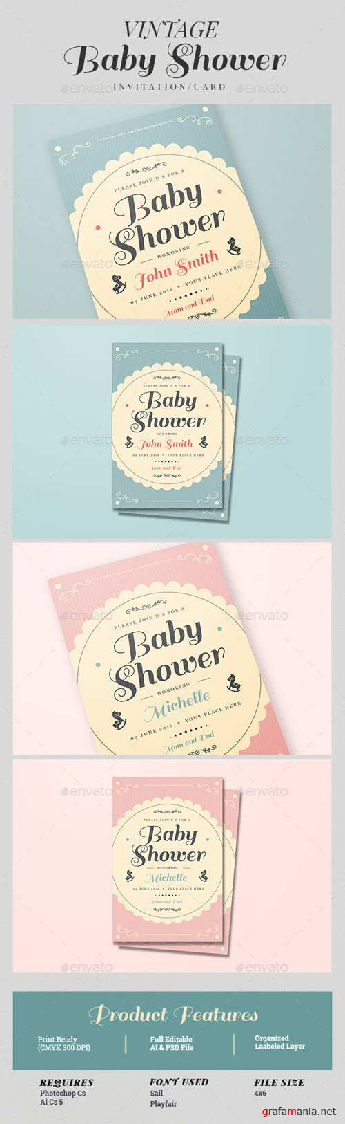 Vintage Baby Shower Invitation/Card 15528279