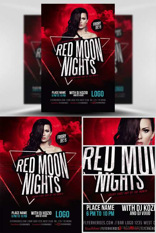 Flyer Template - Red Moon Nights