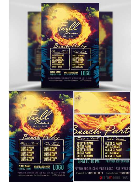 Flyer Template - Full Moon Beach Party