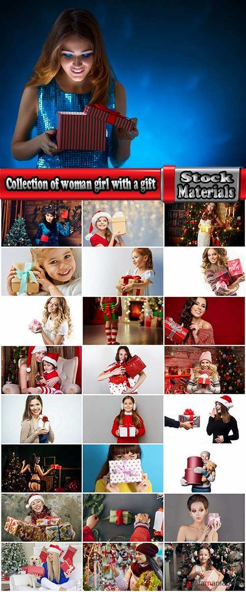 Collection of woman girl with a gift new year christmas surprise package 25 HQ Jpeg