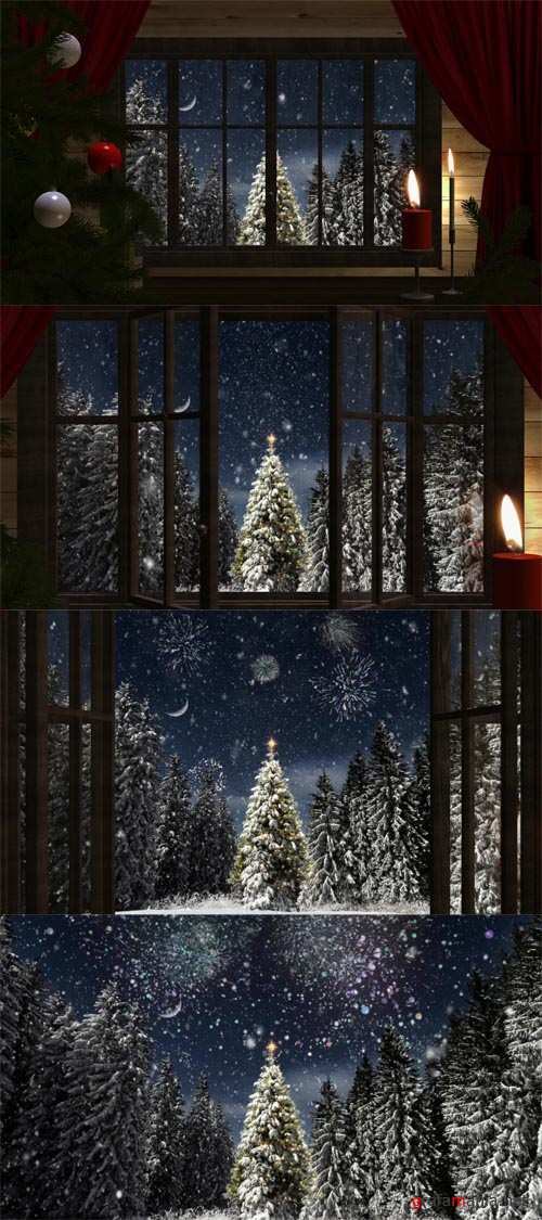 HD Footage - Open window for Christmas