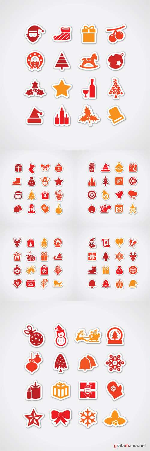 Vector Christmas Stickers Decorations
