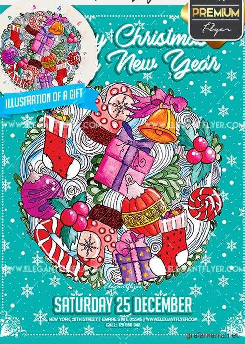 Merry Christmas & Happy New Year Flyer PSD V02 Template + Facebook Cover