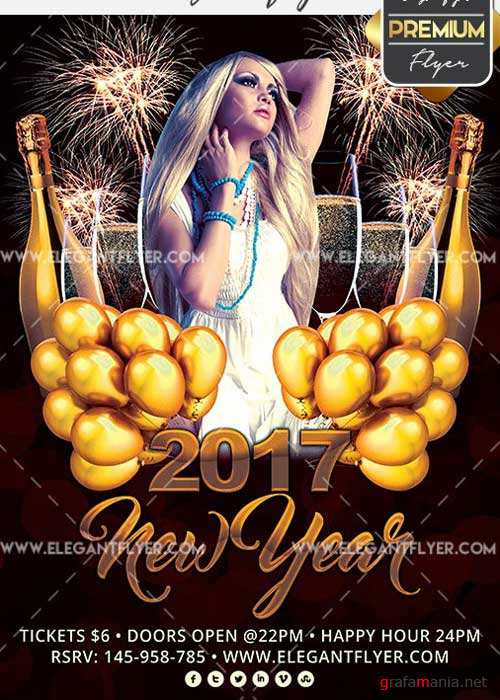 2017 New Year Flyer PSD V7 Template + Facebook Cover