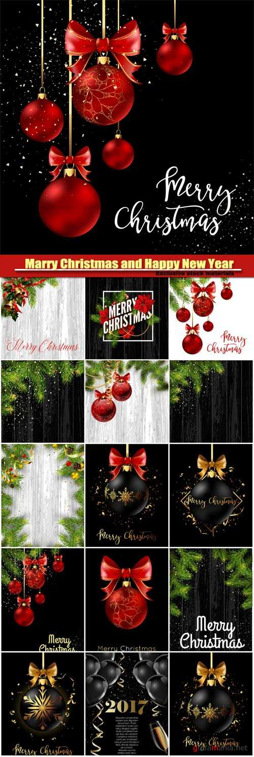 Marry Christmas and Happy New Year vector, Christmas decoration ball with golden ribbon bow