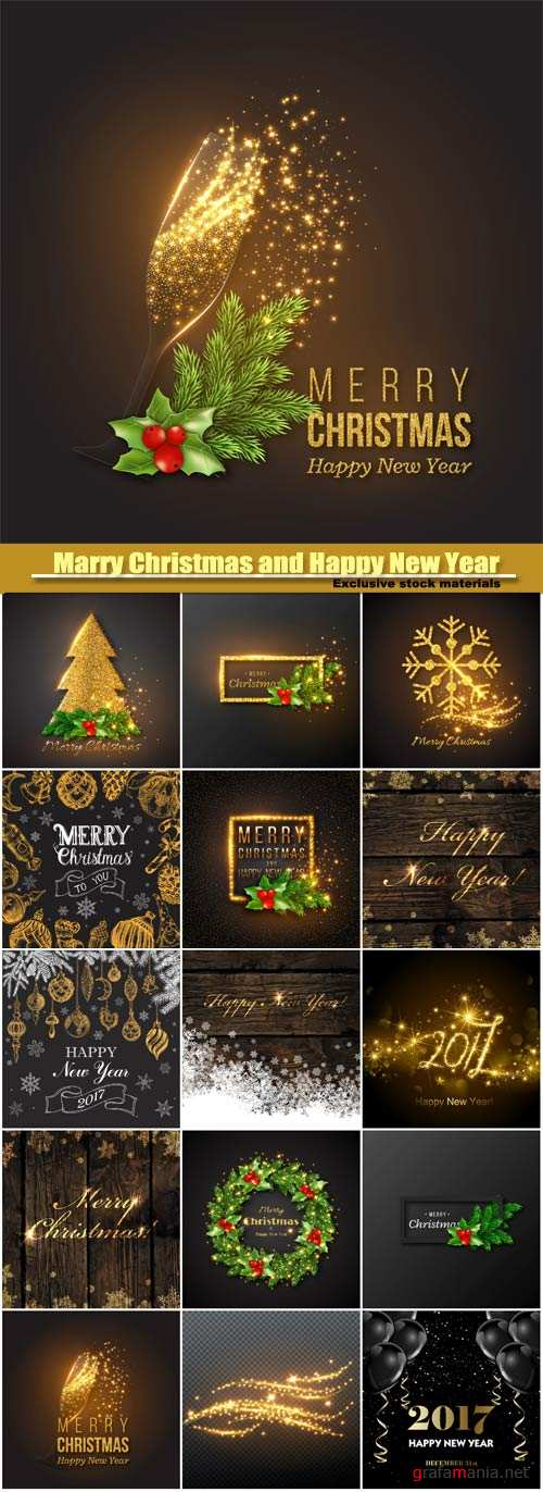 Marry Christmas and Happy New Year vector, golden decoration, champagne splash