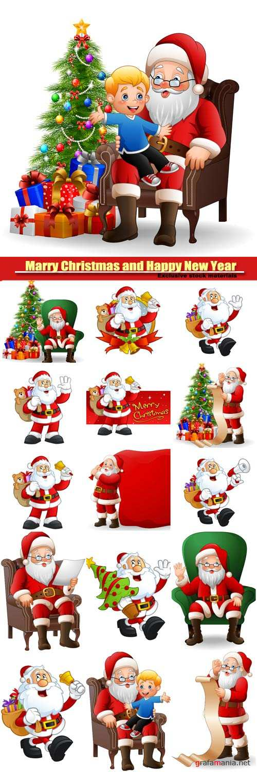 Vector Santa Claus with Christmas gifts and tree