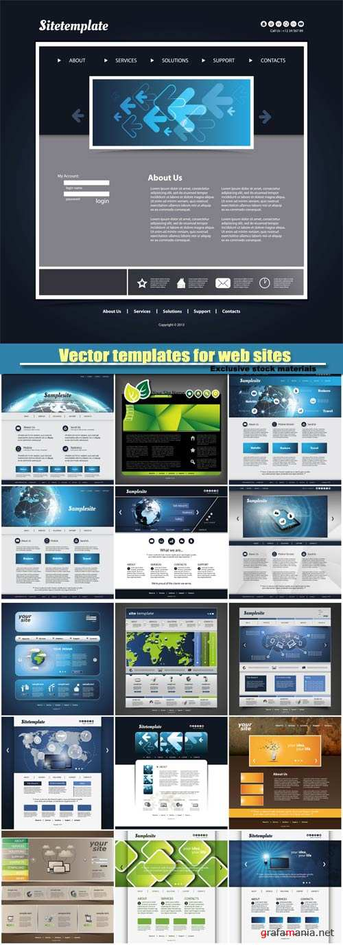 Vector templates for web sites