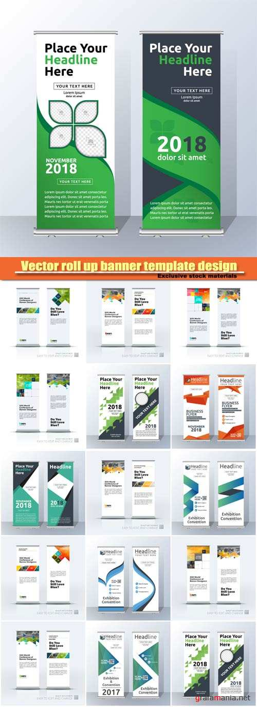 Vector roll up banner template design