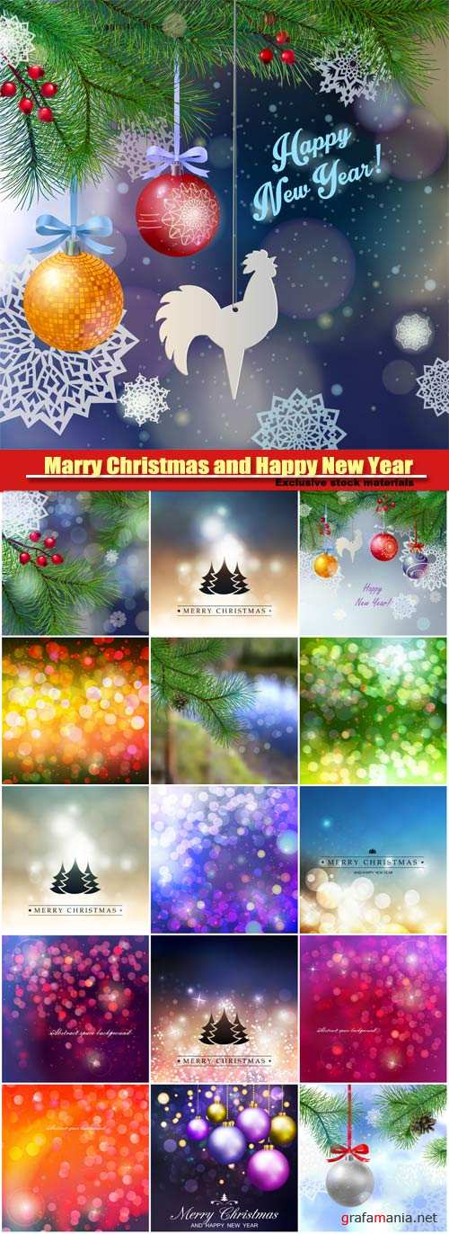 Marry Christmas and Happy New Year vector, tree branches, beautiful balls, paper snowflakes, festive winter background