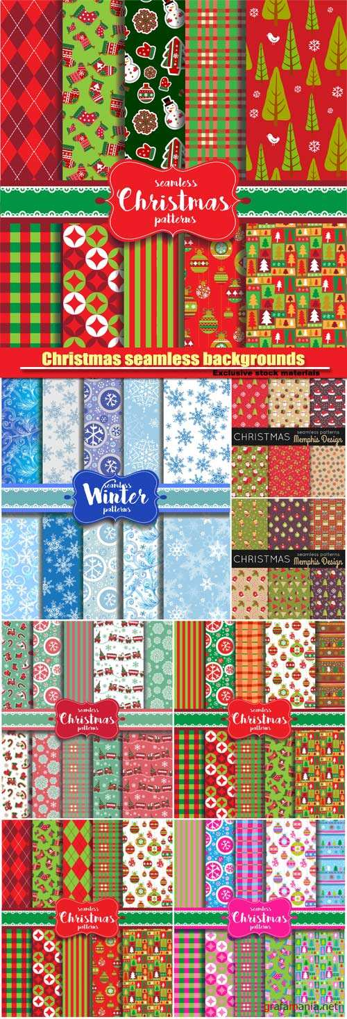 Christmas seamless backgrounds with traditional holiday symbols