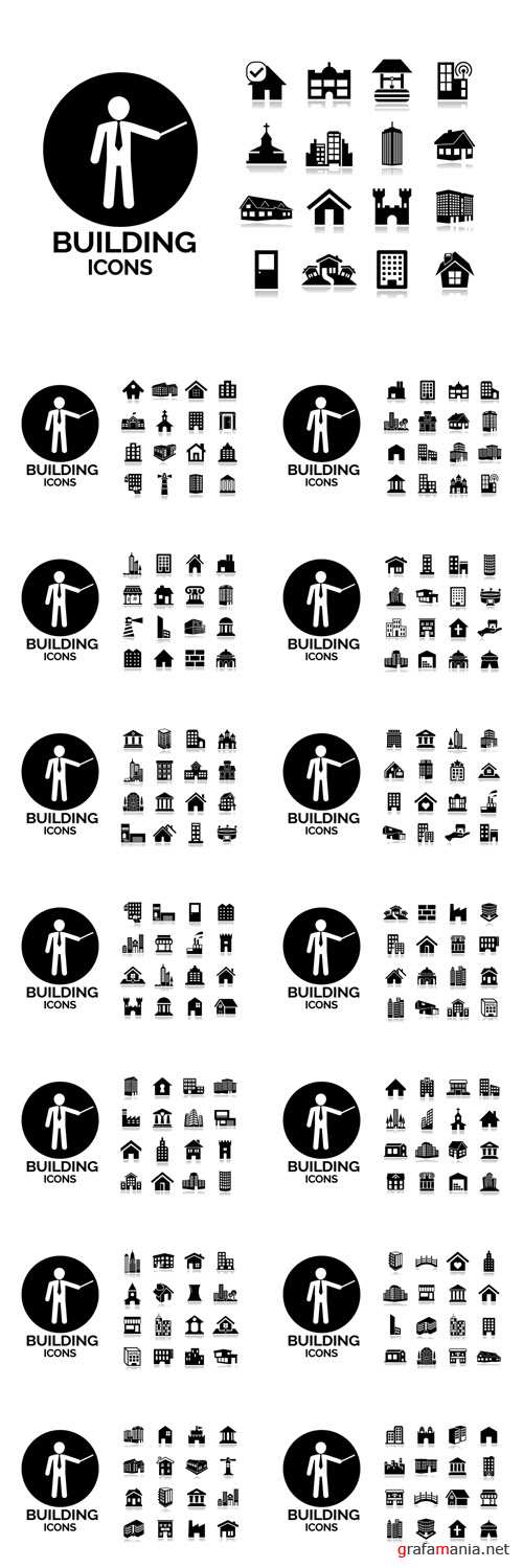 Vector Black Building Icons