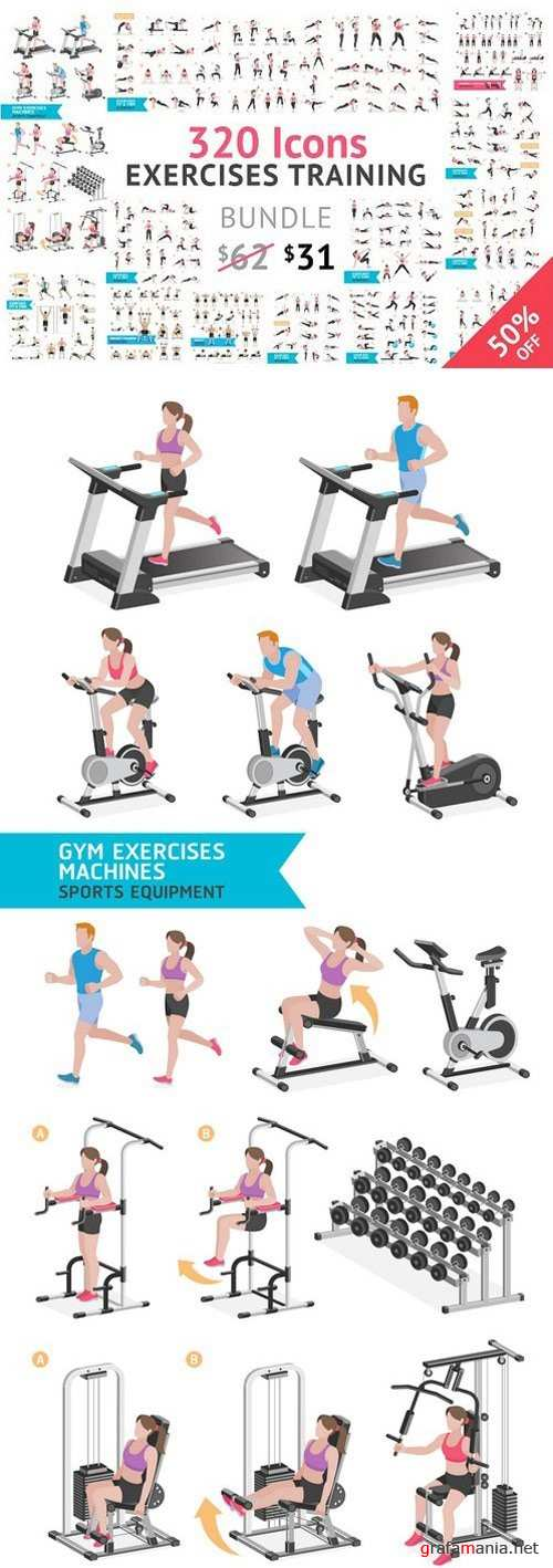 Fitness Aerobic and Exercises Icons - 1063017