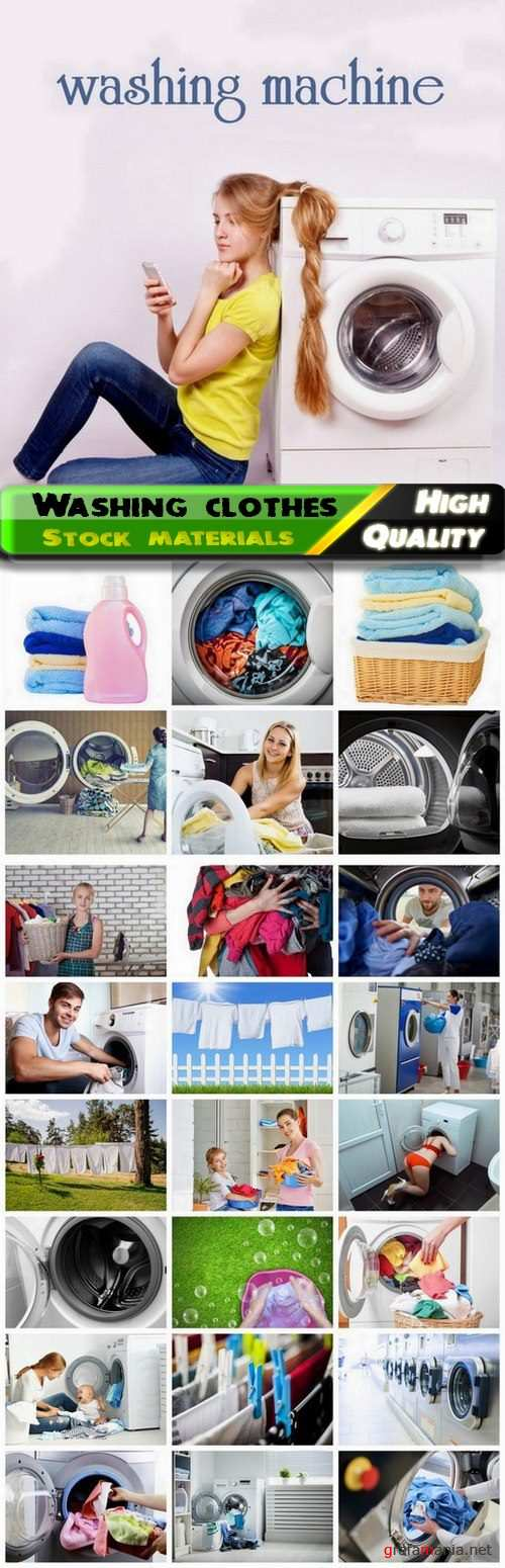 Laundry with washing machine and washing clothes 25 Jpg