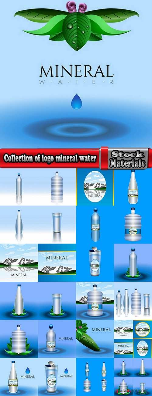 Collection of logo mineral water purity 25 EPS