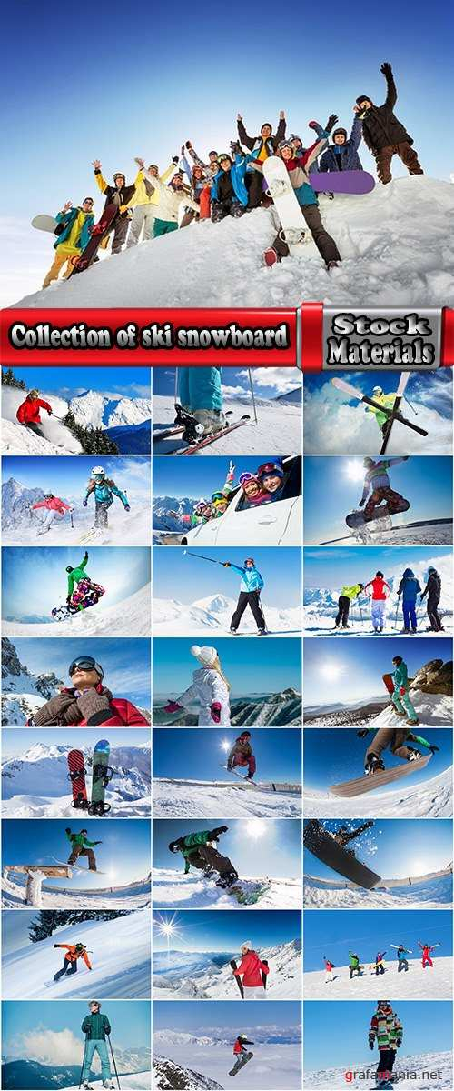 Collection of ski snowboard snow slope mountain resort skier sportsman 25 HQ Jpeg