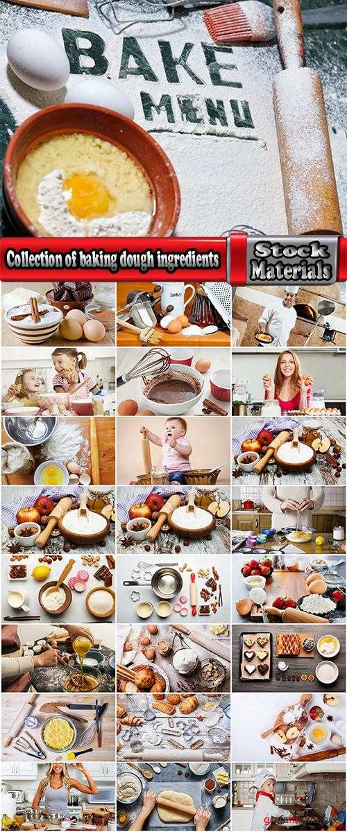 Collection of baking dough ingredients for chocolate cream egg noodles 25 HQ Jpeg