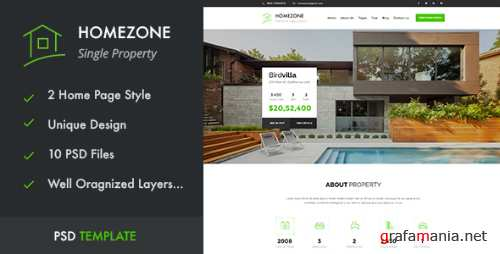 HOMEZONE - Single Property Real Estate PSD Template 16722027