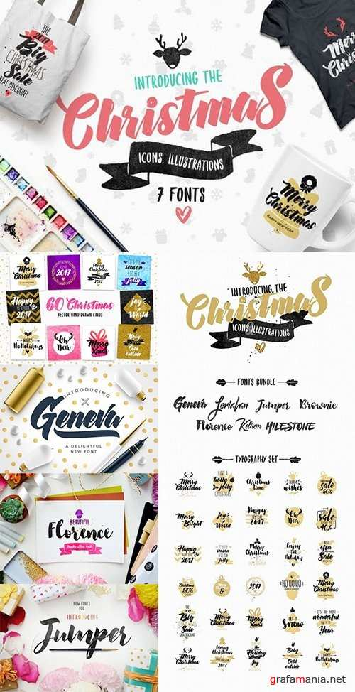Christmas Bundle of 7 Fonts - 1098232