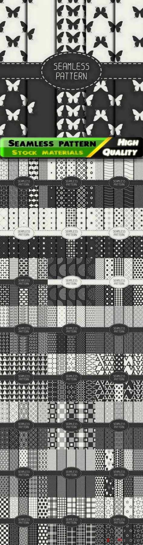 Black and white seamless pattern for wallpaper or textile design 25 Eps