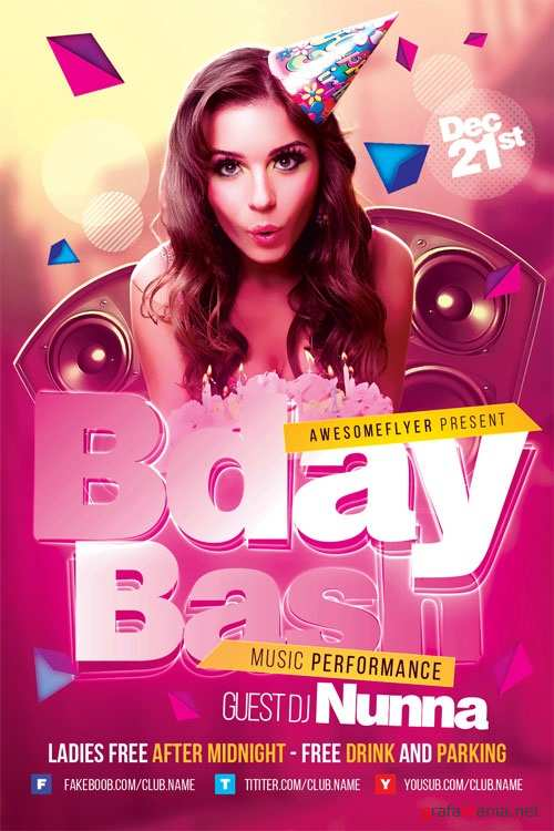 Bday Bash Flyer Template 1099360