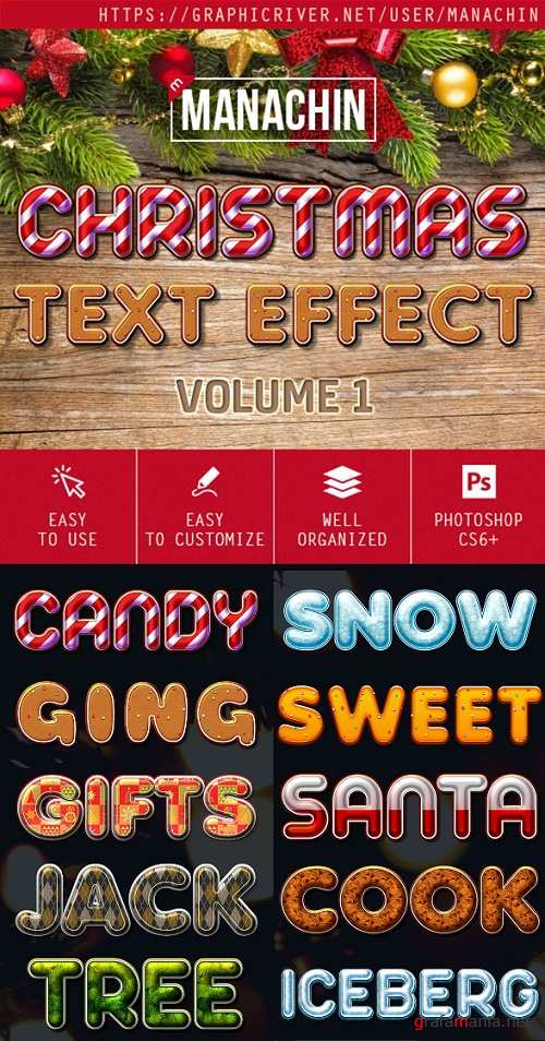 One Click Premium Christmas Text Effects Vol1 - 19127349