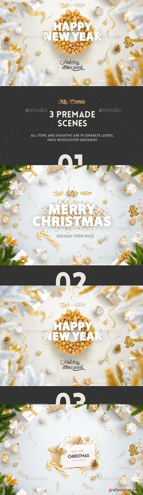 Gold & White - Christmas, New Year Pack - 14017899