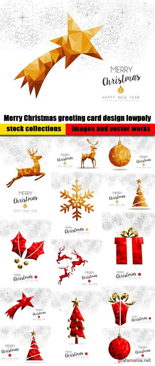 Merry Christmas greeting card design lowpoly vector