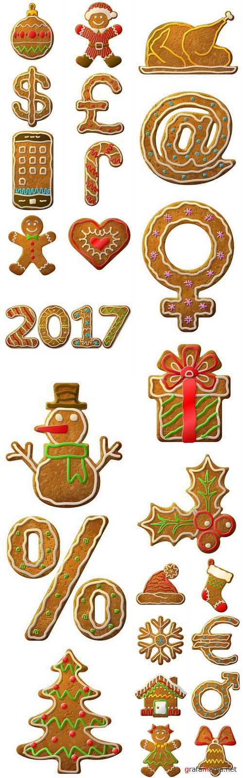 Gingerbread Christmas - Holiday cookie, 25xEPS Vector Stock