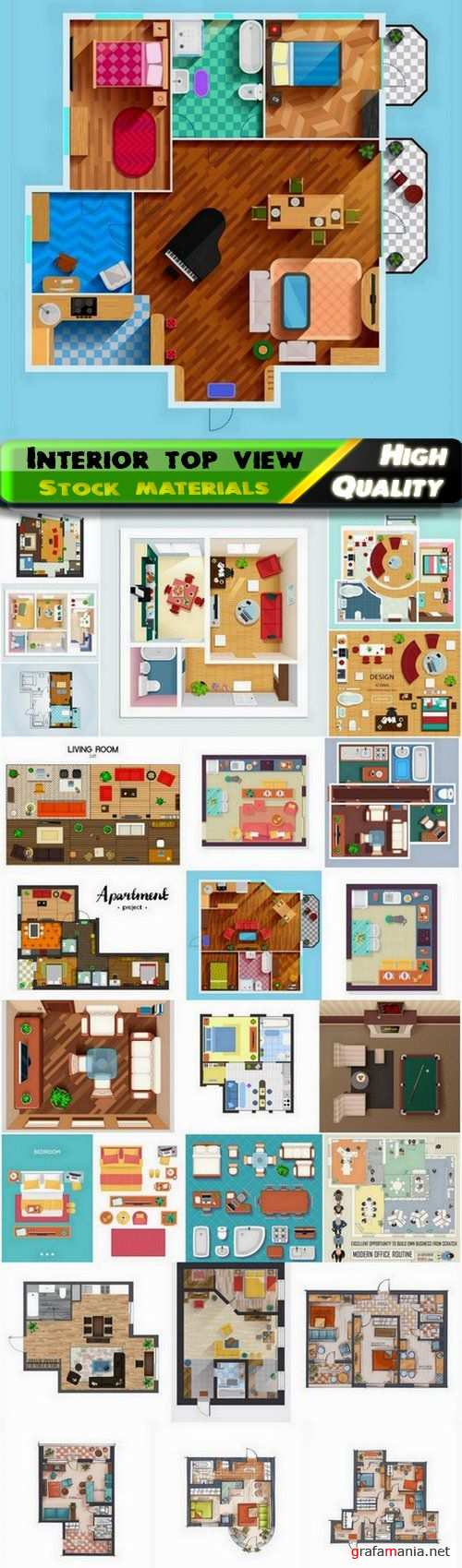 Home interior and apartment with furniture top view 25 Eps