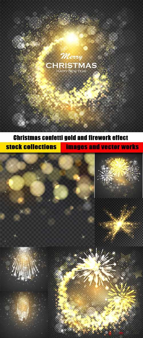 Christmas confetti gold and firework effect