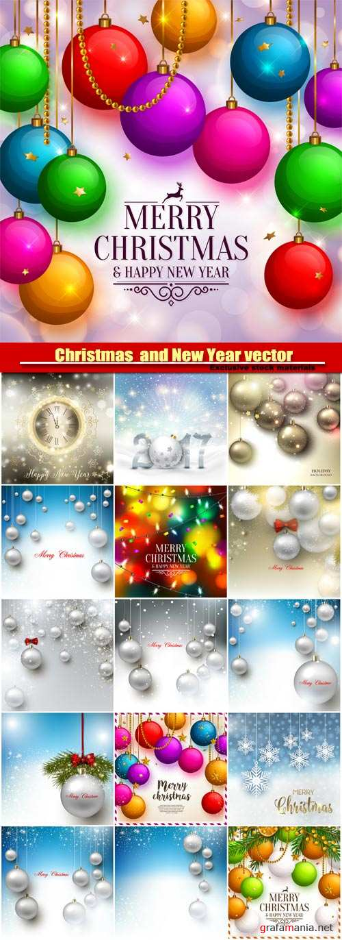Christmas  and New Year vector background with colorful balls