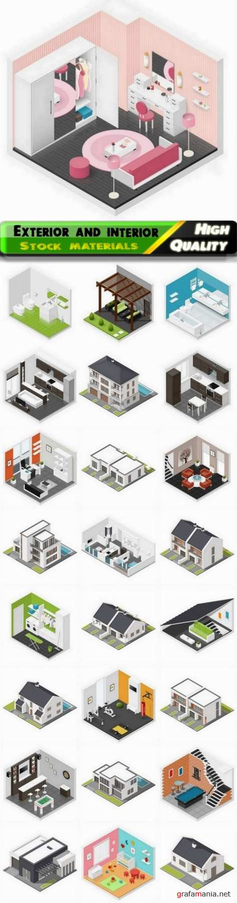 3D isometric home exterior and apartment interior 25 Eps