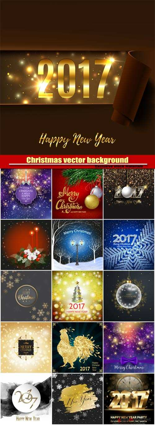Christmas vector background with sparkles and balls